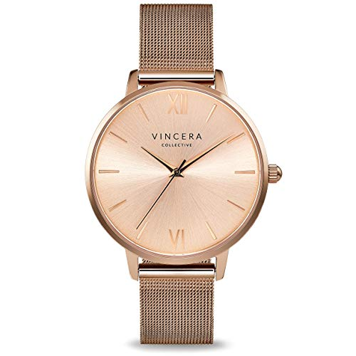 Vincero Luxury Women's Eros Wrist Watch - Rose Gold + Rose Gold dial with a Rose Gold Mesh Watch Band - 38mm Analog Watch - Japanese Quartz Movement …