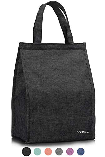 Lunch Bag, VAGREEZ Insulated Lunch Bag Large Waterproof Adult Lunch Tote Bag For Men or Women (Black)