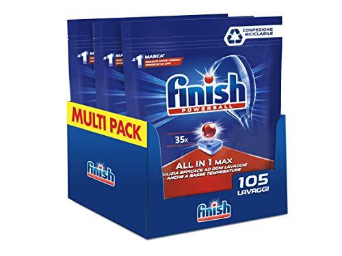 Finish, 105 Pastiglie Per Lavastoviglie, All In One Max, 3 Confezioni Da 35 Pastiglie
