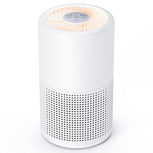 Air Purifiers for Home, Air Cleaner with 3 Stage Filtration 5 Timer Settings Night Light, Remove up to 99.97% of Pollutants, True HEPA Filter for Pets Dander, Dust, Mold, Smoke and Pollen
