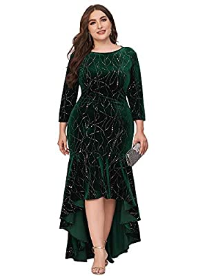 Fully lined, no built-in bras, low stretch Features: 3/4 sleeve, velvet, stretch meterial, fishtail, mermaid long party gowns, formal party dress Elegant plus size velet mermaid dress, this formal party dress is flattering and gorgeous Perfect as for...