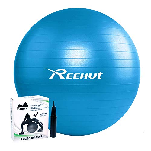 REEHUT Anti-Burst Exercise Ball for Yoga, Balancing, Fitness, Training, including Pump and User Manual - Blue 55cm