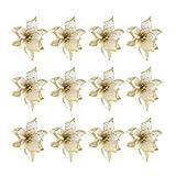 TOYANDONA 24 Piezas de Flores Artificiales de Navidad Adornos de rbol de Navidad de Flor de Pascua Dorada (13 cm)