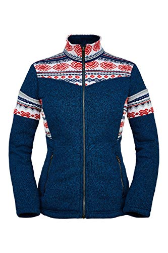 41fBLYPj33L Ykk metaluxe antique chrome CENTER front and hand pocket zippers Spyder heritage sweater jacquard pattern on hood and yoke Stretch heathered polyester sweater knit bonded with Sherpa back