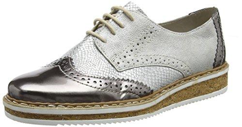 Rieker N0312, Zapatos de Cordones Derby Mujer, Plateado (Altsilber/Grau/Frost), 40 EU
