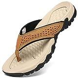 Voovix Tongs Homme Sandales de Sport Flip Flop Chaussures de Plage Tongs Adulte, Beige39
