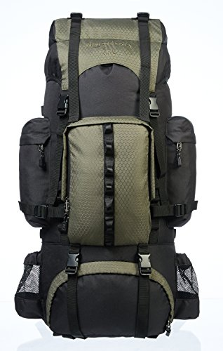 Amazon Basics Internal Frame Hiking Backpack with Rainfly, 75 L, Green