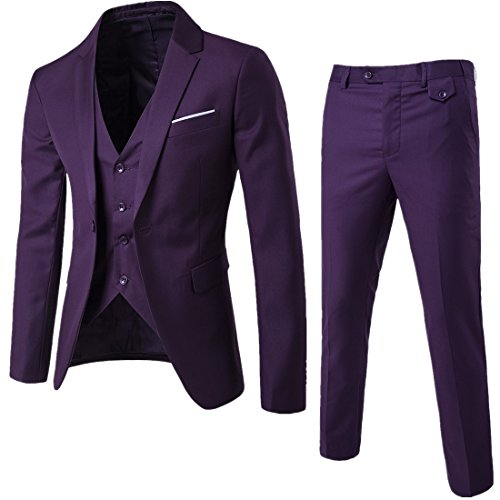 HerZii - Chaqueta y pantalón para hombre de 3 piezas de negocios para hombre Morado Morado ( 3XL