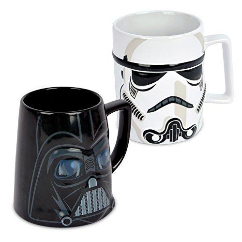 Ideal casa Pack de 2 Tazas de gres. Mugs con Relieve de los Personajes de Star Wars Stormtrooper y Darth Vader