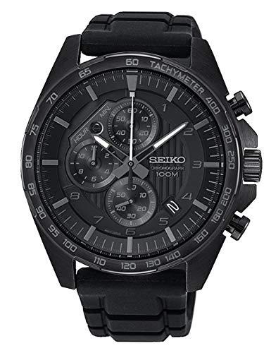 Seiko Chronograph Herren-Uhr mit Titankarbidauflage und Silikonband SSB327P1