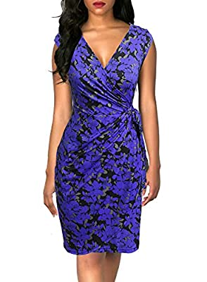 Cotton Blend Fabric, Stretchy Material, Super Soft, Breathable and Fashionable, Quality Guarantee Deep V-neck, Cap Sleeve, Draped Waist, Tie Belt( the belt is not detachable), Tulip Hem, Knee-length Wrap Dress Classic Style, Super Flattering, Plum Fl...
