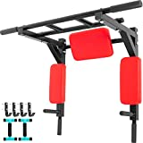 Bkisy Wall Mounted Pull Up Bar Heavy Duty Wall Thicken Pull Up Bar Wall Mounted Multi-Grip Chin Pull Up Bar Gym Workout Pullup Bar Dip Stand Power Tower Set for Home Gym Strength Training (RED)