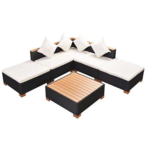 SSITG giardino divano 15pezzi Poly Rattan WPC NERO, gruppo Lounge giardino set