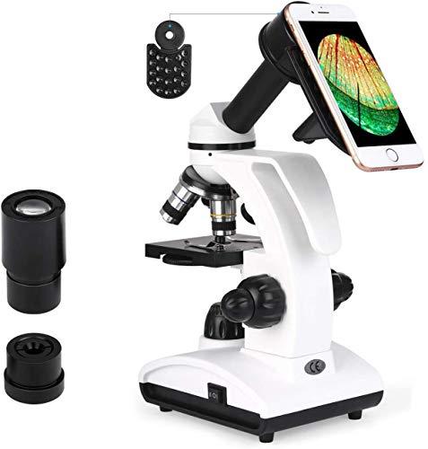 TELMU Mikroskop LED-Licht 40X-1000X Vergrößerung Optik Glas mit Smartphonehalter, 10 Fliter für Kinder, Schüler und Erwachsene