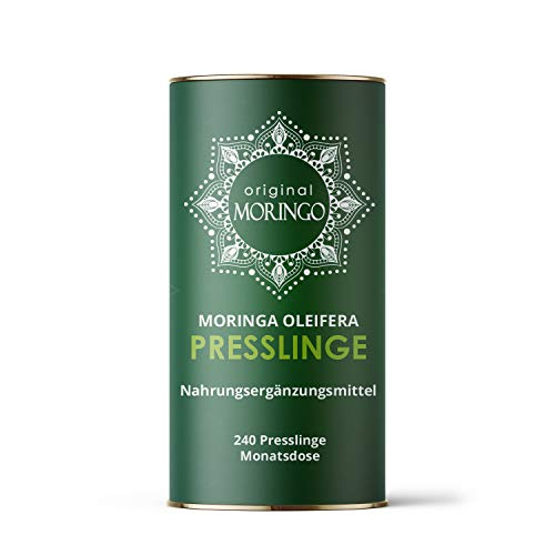 ORIGINAL MORINGO Premium Moringa Oleifera Presslinge | 96g |240 Stück für 30 Tage | 100% handverlesenes Blattpulver