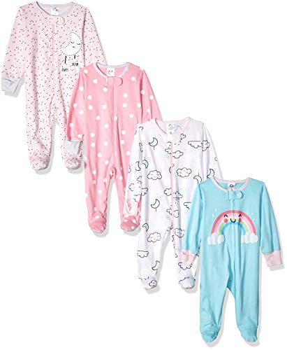 Gerber Baby Girls' 4 Pack Sleep 'N Play Footie, Cloudy, Newborn