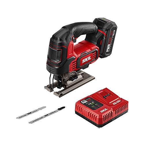 SKIL PWR CORE 20 Brushless 20V 1' Stroke Jigsaw, Includes 2.0Ah Lithium Battery with PWR ASSIST USB & PWR JUMP Charger - JS820202