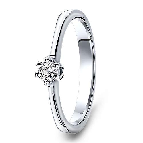 Miore anillo de compromiso para mujer de oro blanco de 14 quilates 585 y diamante brillante de 0,12 quilates
