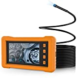 Industrial Endoscope, KZYEE 5.5mm Diameter 1080P HD Waterproof Borescope Inspection Camera 4.3inch Full-View IPS Display Semi-Rigid Snake Camera with LED Lights, TF Card and Silicone Case (16.5FT)