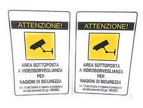 TEMPO DI SALDI 2 x Cartello Segnaletico Attenzione! Area Sottoposta A Videosorveglianza Esterno