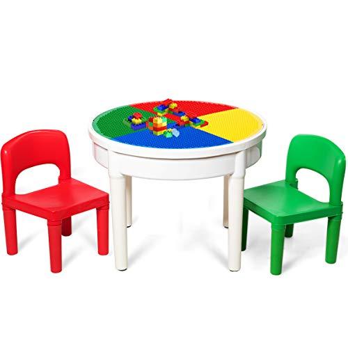 GOPLUS Set Tavolo e 2 Sedie per Bambini con 300 Piccoli Blocchi, Tavolo da Gioco Multifunzione, con Buona Capacità di Carico, di Colori Vivaci e Materiale Ecologico