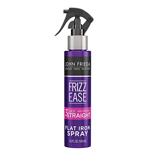 John Frieda Frizz Ease Keratin Infused Flat Iron Hair Spray, 3 Day Straightening Spray, Anti Frizz Heat Protectant for Curly Hair, 3.5 Ounce
