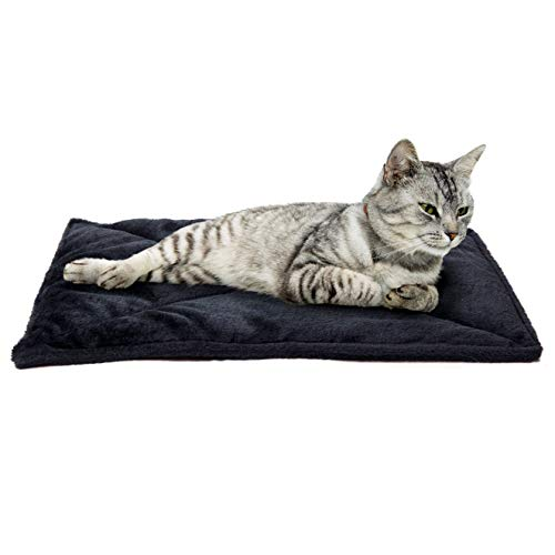 Furhaven Pet Dog Bed Heating Pad - ThermaNAP Quilted Faux Fur Insulated Thermal Self-Warming Pet Bed Pad for Dogs & Cats, Black, Small