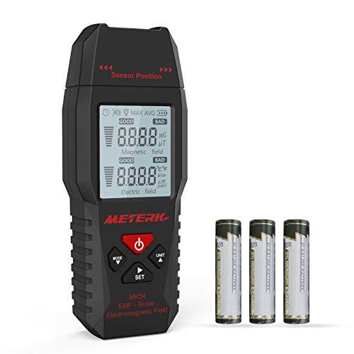 EMF Meter Meterk Electromagnetic Radiation Detector Digital LCD backlight for Testing Ghost, Magnetic Field, Electric Field Radiation and Ambient Temperature, Sound-Light Alarm, Max/Average value Lock