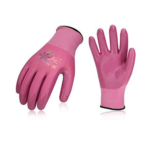 Vgo, 3Paia Guanti da giardinaggio per rivestimento in nitrile da donna e guanti da lavoro, guanti da...