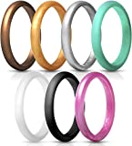 ThunderFit Women's Thin and Stackable Silicone Rings Wedding Bands - 7 Pack (Black, White, Turquoise, Copper, Rose Gold, Silver, and Gold, 3.5-4 (14.9mm))