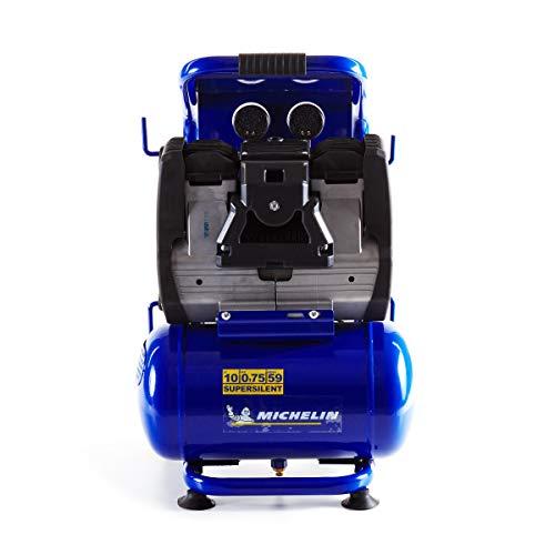 MICHELIN Compresseur d'Air Silencieux MBN10 - Cuve 10 Litres - Sans Huile - Moteur 0.75 cv - Pression Maximale 9 bar - Débit d'Air 140 l/min - 8.4 m³/h - 59 dB(A) LpA 4m - 78 dB(A) LwA