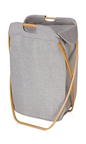 Möve Bamboo Klappbarer Wäschekorb, grau, 39 x 46 x 66 cm