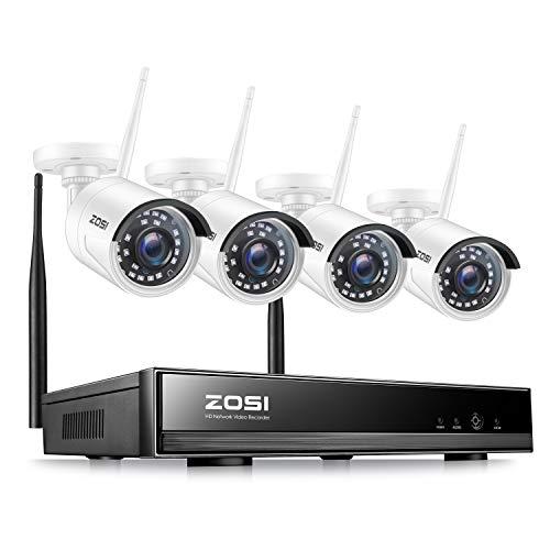 ZOSI Kit Videosorveglianza WiFi 1080P Wireless sistema di telecamere di sicurezza per esterno, H.265+ 8CH 2MP NVR(nessun disco rigido) 80 piedi di Visione Notturna, Avviso di Movimento, Accesso Remoto