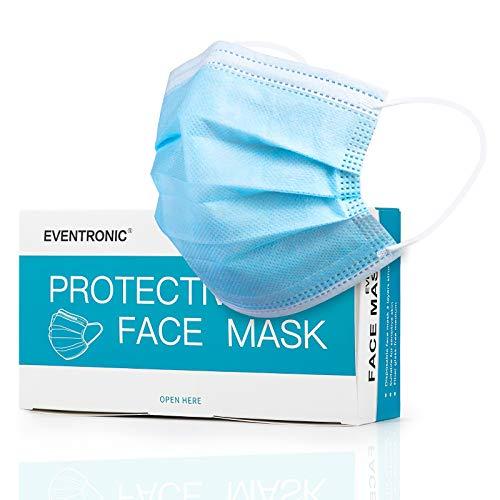 Eventronic Maschera facciale 50 pezzi 3 strati mascherina monouso adatta per casa, ufficio, scuola, traspirante e...