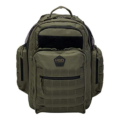 HSD Diaper Bag Backpack for Dad, Large Waterproof Travel Baby Bag for Men + Changing Pad, Insulated Pockets, Stroller Straps and Wipe Pocket. Multi-function, Military Tactical Style. (Ranger Green)