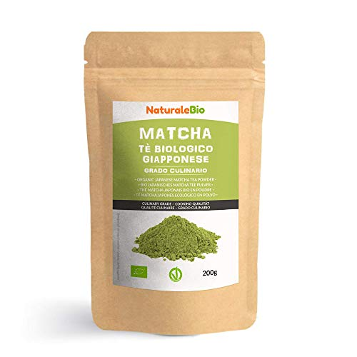 Matcha Tee Pulver Bio [ Cooking-Qualität ] 200 GR. Original Green Tea aus Japan. Japanischer Matcha Ideal zum Smoothies – Shakes - Latte. Tee hergestellt in Japan Uji, Kyoto. NaturaleBio