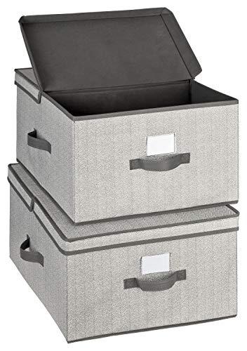 TOPP4u, scatola portaoggetti grande con coperchio, set da 2 pezzi, colore grigio, dimensioni extra grandi, ideale per guardaroba, 40 x 50 x 25 cm