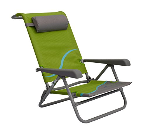 Meerweh Erwachsene Strandstuhl mit Verstellbarer Rückenlehne und Kopfpolster Klappstuhl Anglerstuhl, grün/grau Campingstuhl, XXL