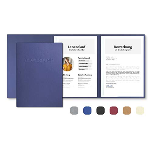 3 Stück 3-teilige Bewerbungsmappen Blau mit 2 Klemmschienen in feinster Lederstruktur