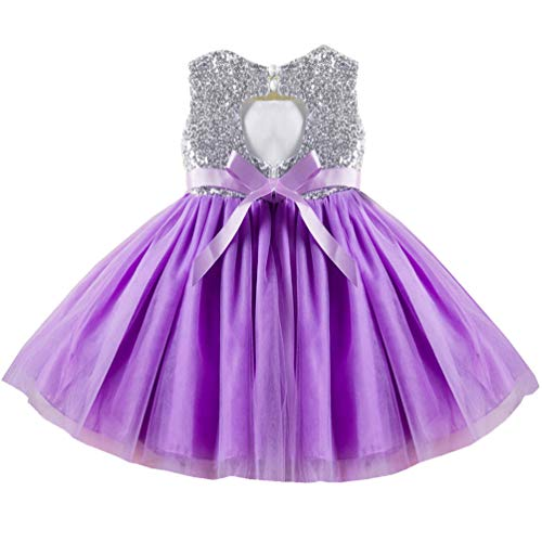 18-24 Months 2t Purple Lil Lavender Mauve Toddler Dresses Trendy Spring Fancy Puffy Halter Gown Pageant Formal Ruffle Baby Dresses Cute Dresses for Girls Christening Birthday Party Baby Girl Dress
