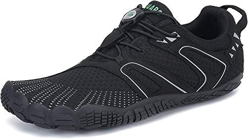 SAGUARO Barfussschuhe Herren Outdoor Fitnessschuhe Damen Barfuß Laufschuhe Walkingschuhe Minimalistische Zehenschuhe Traillaufschuhe St.1 Schwarz 42