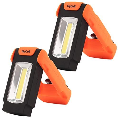 2 HyCell LED Werkstattlampe Flexi magnetisch & klappbar - Profi Arbeitslampe 128 Lumen - Vielseitige Taschenlampe mit Halteclip für Auto & Werkstatt Zubehör - LED Arbeitsleuchte inkl AAA Batterien