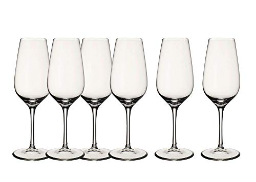 Vetrineinrete® Set da 6 Flute in Vetro per Champagne calici da 230cc 22.5 cm Bicchieri Calice per Spumante Trasparente