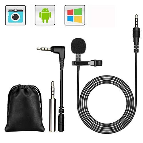GeekerChip Lavalier Mikrofon,Mikrofon für Smartphone und PC,für Interview,Videokonferenz,Podcast,Diktat(Zwei Adapter)