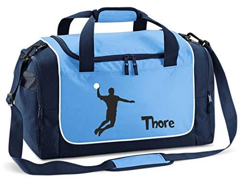 Mein Zwergenland Sporttasche Kinder Praktisch kompakt & robust Sporttasche mit Namen Handballer als Aufdruck Farbe SkyBlue Blau 38 L Stauraum die perfekte Sporttasche für Kinder