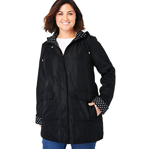 Woman Within Women's Plus Size Raincoat in New Short Length with Fun Dot Trim - 16 W, Black
