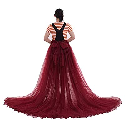 Bustle train size: chapel length:63 inch,waist: 31.50 inch, belt length: 47.2 inch*2 sides Deluex wedding train material: 5 layers soft tulle, full length, long train The multiple layers of tulle fit together nicely and give a great shape for wedding...