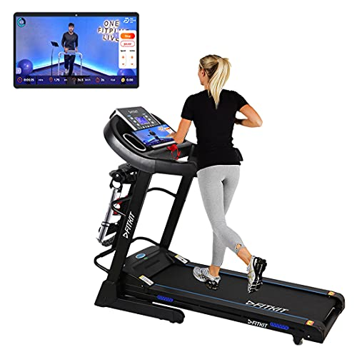 Fitkit FT063 (3HP Peak) DC-Motorised Treadmill ( Max Speed:14km/hr, Inclination: Auto) With Free...
