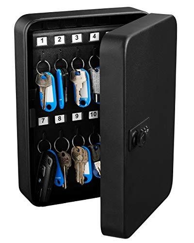 AdirOffice Key Steel Security Cabinet Box - 48 Keys Capacity - Combination Lock (Black)