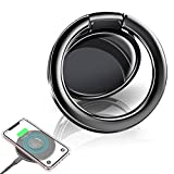 eSamcore Phone Ring Holder – Wireless Charger Friendly Ceramic Finger Ring Holder Kickstand [Anti-Scratch] [3mm Ultra-Thin] Compatible with All Wireless Charging Cell Phone [Black]